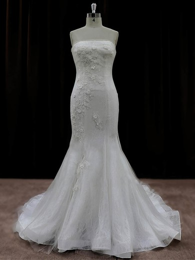 Fashion Tulle Appliques Lace Trumpet/Mermaid Ivory Strapless Wedding Dresses #PWD00022074