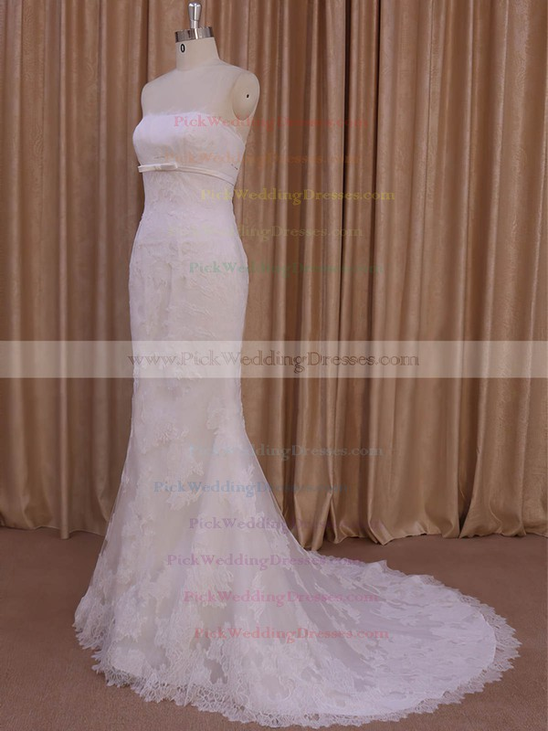Trumpet/Mermaid Ivory Tulle Appliques Lace New Style Strapless Wedding Dresses #PWD00022075