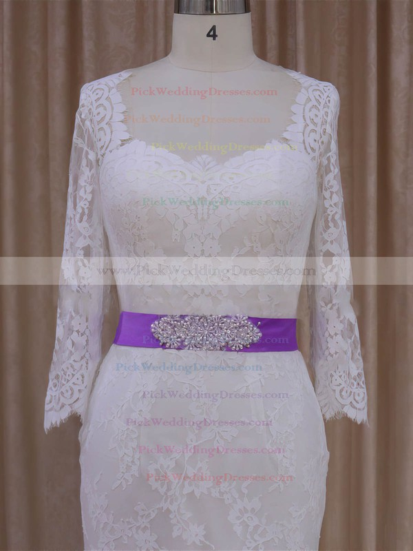 Lace with Sashes/Ribbons Ivory Trumpet/Mermaid Long Sleeve Wedding Dresses #PWD00022076