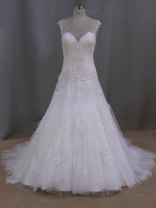 V-neck Ivory Tulle Appliques Lace Court Train Fashionable Wedding Dresses #PWD00022077