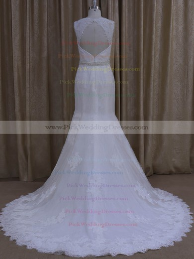 Trumpet/Mermaid Tulle Appliques Lace Ivory Sweetheart Open Back Wedding Dresses #PWD00022078