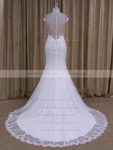 Trendy Scoop Neck Tulle Appliques Lace Trumpet/Mermaid White Wedding Dresses #PWD00022080