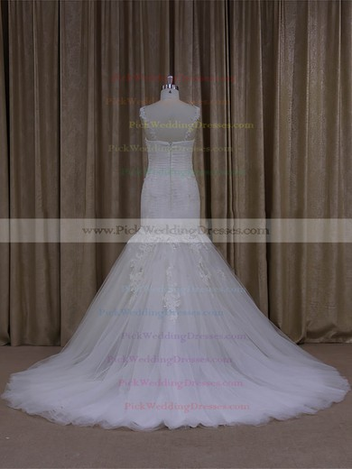 Ivory Tulle Sweep Train Appliques Lace Popular Trumpet/Mermaid Wedding Dresses #PWD00022081