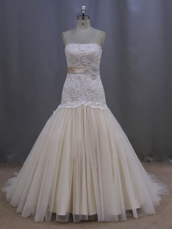 Gorgeous Strapless Champagne Lace Tulle Sashes/Ribbons Trumpet/Mermaid Wedding Dresses #PWD00022082
