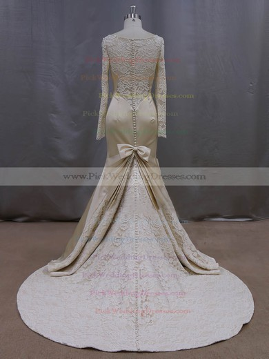 Luxurious Trumpet/Mermaid Scoop Neck Champagne Lace Satin Long Sleeve Wedding Dresses #PWD00022083