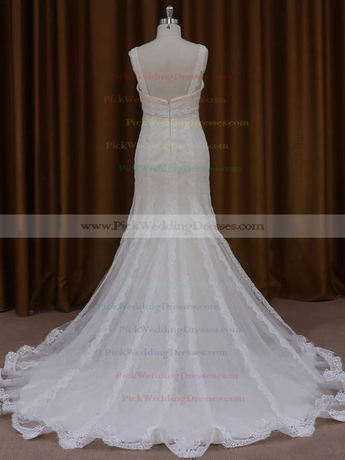 Trumpet/Mermaid V-neck Graceful Tulle Appliques Lace Ivory Wedding Dresses #PWD00022084