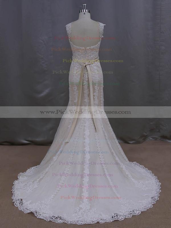 Noble V-neck Ivory Lace Tulle Sashes/Ribbons Trumpet/Mermaid Wedding Dresses #PWD00022085