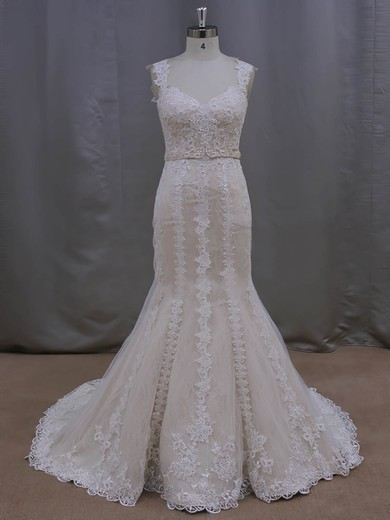 Noble V-neck Ivory Lace Tulle Sashes/Ribbons Trumpet/Mermaid Wedding Dresses #PWD00022085