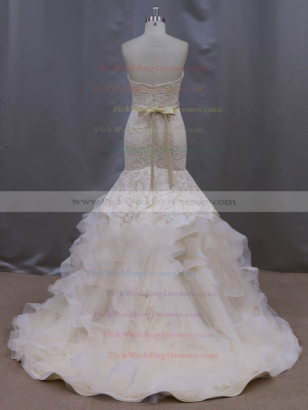 Champagne Court Train Tiered Lace Tulle Trumpet/Mermaid Classic Wedding Dresses #PWD00022086