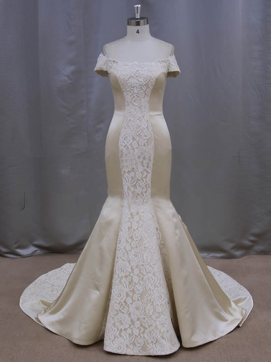 Lace Satin Bow Court Train Modern Champagne Off-the-shoulder Wedding Dresses #PWD00022087