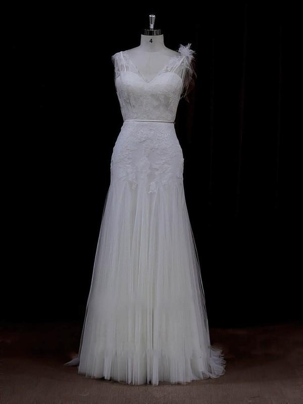 Sheath/Column Tulle Appliques Lace V-neck Online Ivory Wedding Dresses #PWD00022088