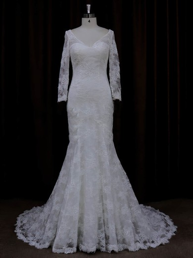 Long Sleeve V-neck Ivory Lace with Buttons Trumpet/Mermaid Wedding Dresses #PWD00022089