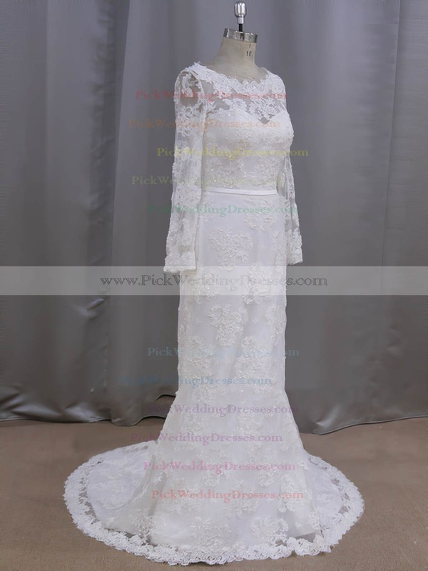 Sheath/Column Lace with Sequins Ivory Court Train Long Sleeve Wedding Dresses #PWD00022090