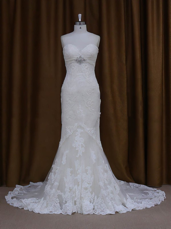 Modest Sweetheart Ivory Lace Tulle with Beading Trumpet/Mermaid Wedding Dresses #PWD00022091