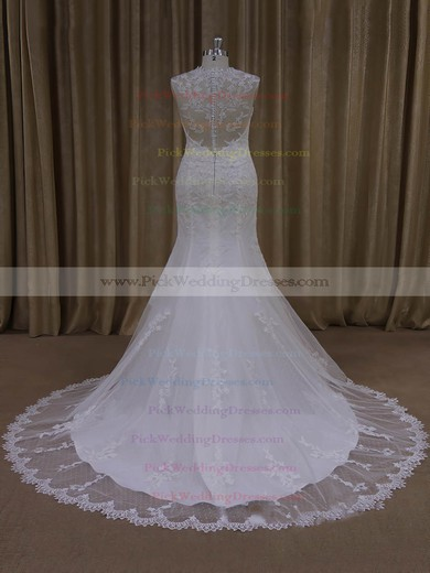 Ivory V-neck Tulle Appliques Lace Vintage Trumpet/Mermaid Wedding Dresses #PWD00022092
