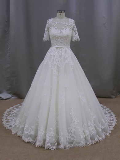 Elegant Scoop Neck Tulle Appliques Lace 1/2 Sleeve Ball Gown Wedding Dresses #PWD00022093