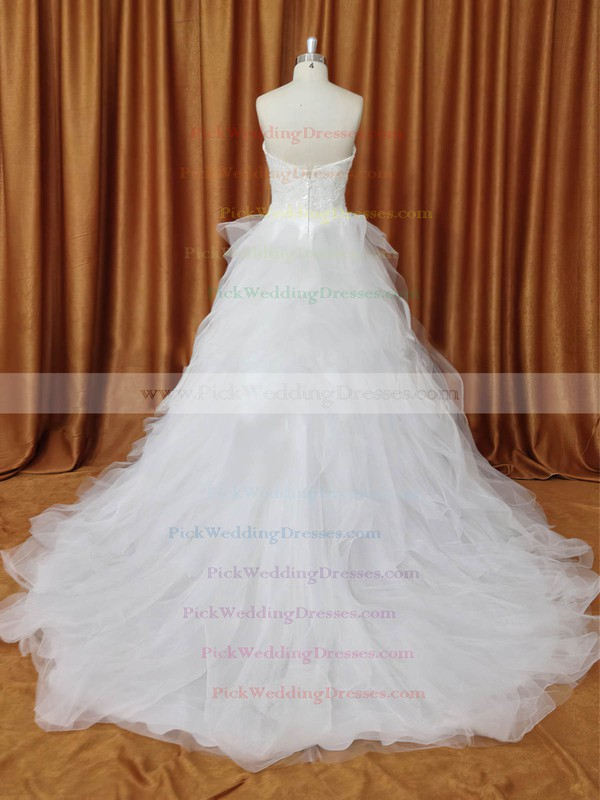 Strapless Tulle Chapel Train Appliques Lace Ivory Fabulous Wedding Dresses #PWD00022094