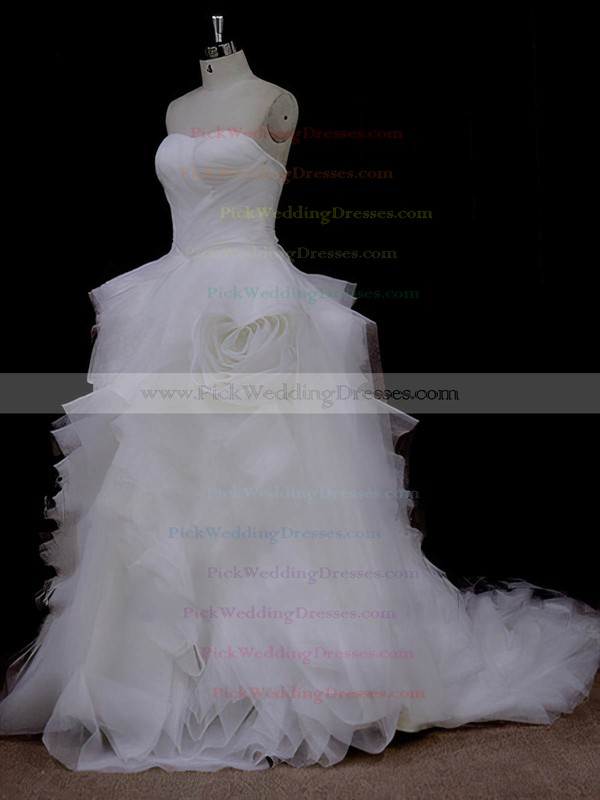 Court Train Ruffles Tulle Ivory Lace-up Princess Designer Wedding Dresses #PWD00022095