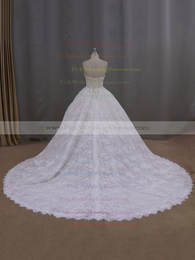 Ball Gown Ivory Lace Beading New Arrival Cathedral Train Wedding Dresses #PWD00022096