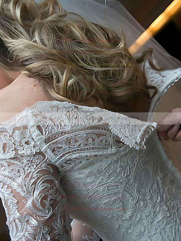Off-the-shoulder Lace Tulle Appliques Lace Long Sleeve Sweep Train Wedding Dresses #PWD00022499