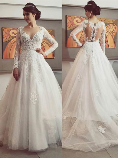 Princess Ivory Tulle Appliques Lace Long Sleeve V-neck Wedding Dresses #PWD00022500