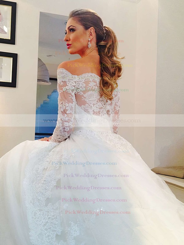 Off-the-shoulder Tulle Sweep Train Appliques Lace Long Sleeve Ivory Wedding Dresses #PWD00022502