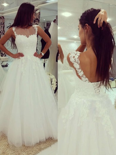 Scoop Neck White Tulle Appliques Lace Floor-length Wedding Dresses #PWD00022503