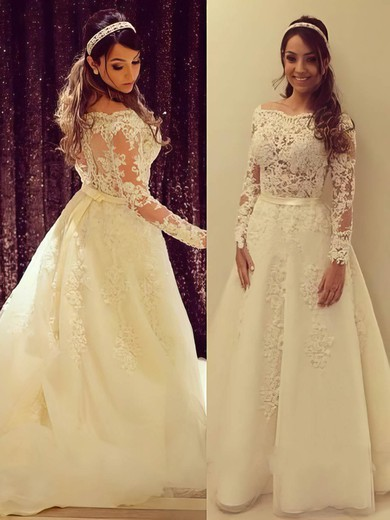 Long Sleeve A-line Tulle Appliques Lace Off-the-shoulder Wedding Dresses #PWD00022504