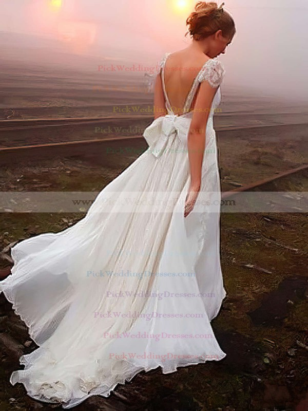Stunning V-neck Ivory Chiffon Appliques Lace Sweep Train Wedding Dresses #PWD00022505