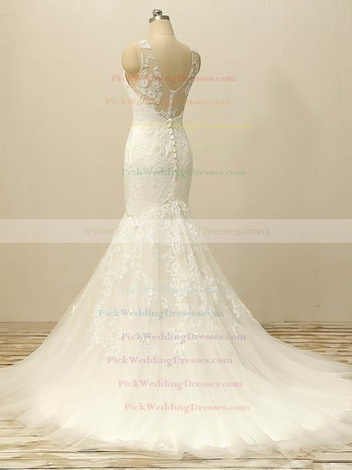 Trumpet/Mermaid White Tulle Appliques Lace Court Train Wedding Dresses #PWD00022506
