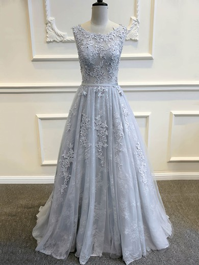 Scoop Neck Light Slate Gray Tulle Sweep Train Appliques Lace Backless Wedding Dresses #PWD00022507