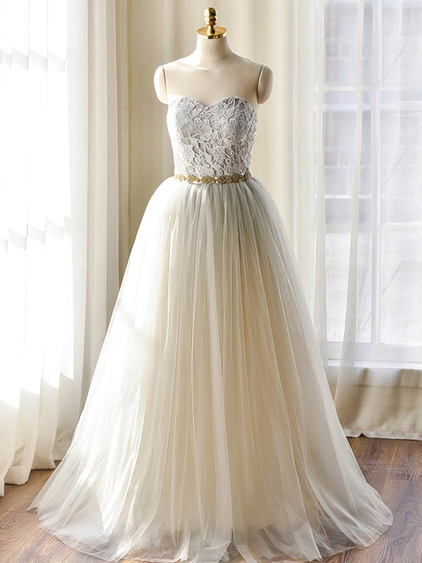 A-line Ivory Tulle Lace-up Appliques Lace Sweetheart Wedding Dresses #PWD00022508