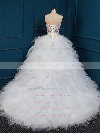 Elegant Ball Gown White Tulle Crystal Detailing Chapel Train Wedding Dresses #PWD00022509