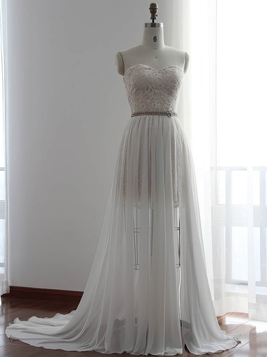 White Chiffon Detachable Lace Sheath/Column Wedding Dresses #PWD00022510
