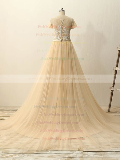 Princess Champagne Tulle Court Train Appliques Lace Short Sleeve Wedding Dresses #PWD00022511