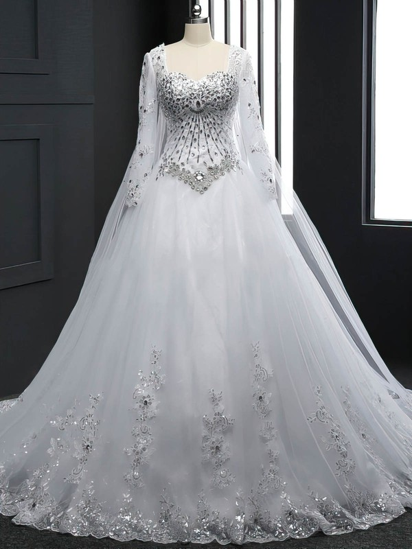 Long Sleeve Sweetheart Tulle Chapel Train Appliques Lace White Wedding Dresses #PWD00022512