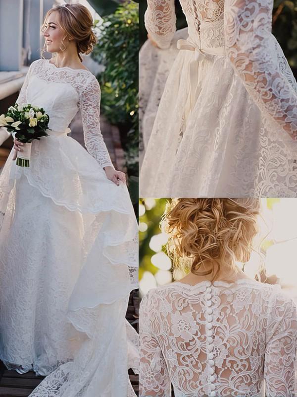 Scalloped Neck Sweep Train Sashes / Ribbons White Lace Wedding Dress #PWD00022513