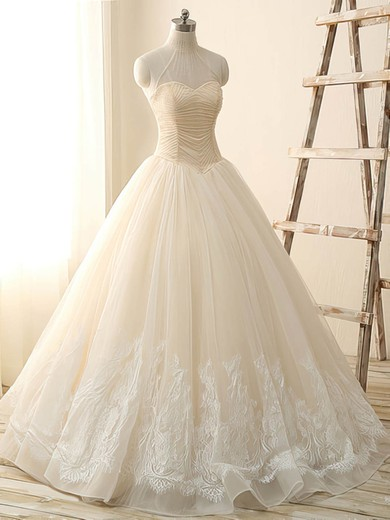 Ball Gown Tulle Beading Lace-up High Neck Wedding Dress #PWD00022514