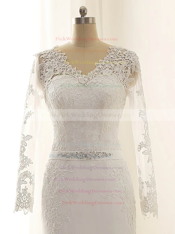 Long Sleeve Trumpet/Mermaid Chiffon Appliques Lace V-neck Wedding Dress #PWD00022515