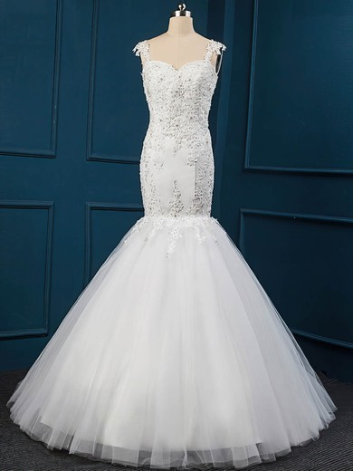 Trumpet/Mermaid White Tulle Sequins Sweetheart Wedding Dress #PWD00022516