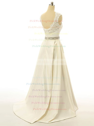 Scoop Neck Elastic Woven Satin Sashes / Ribbons Sweep Train Wedding Dress #PWD00022517