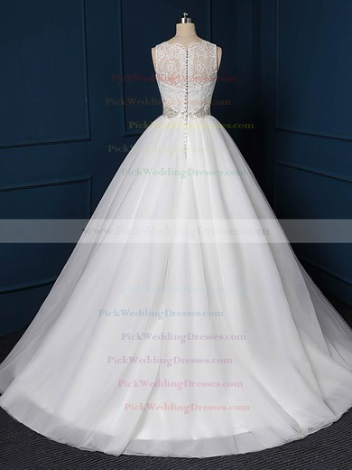 Beautiful Ball Gown Tulle Sweep Train Beading White Wedding Dress #PWD00022518