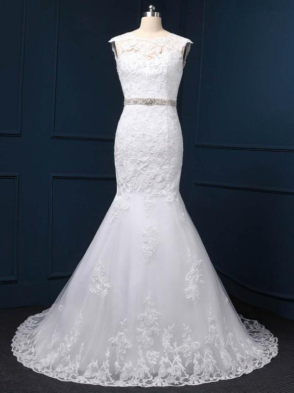 Trumpet/Mermaid White Tulle Beading Scoop Neck Cap Straps Wedding Dress #PWD00022519