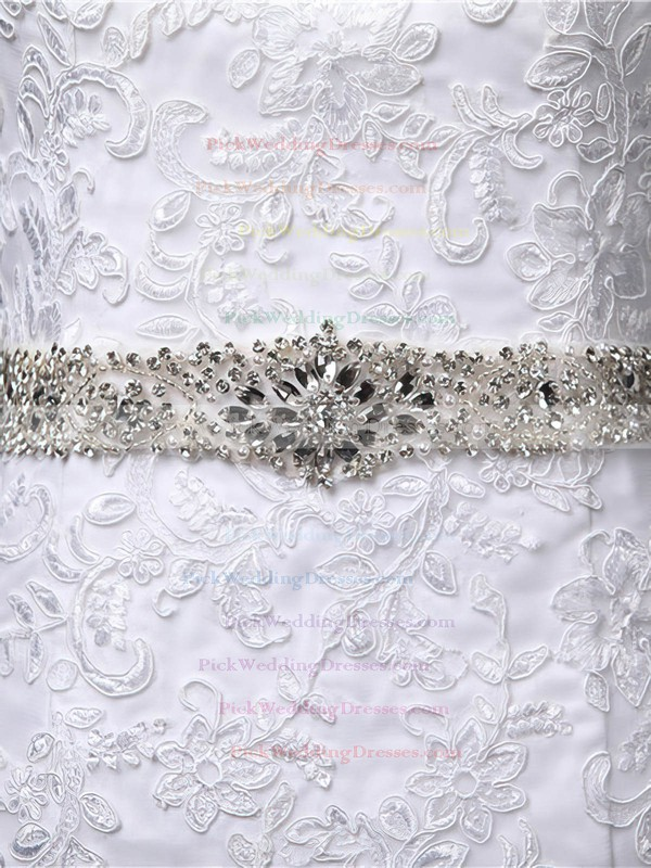 Trumpet/Mermaid White Tulle Beading Scoop Neck Cap Straps Wedding Dress #PWD00022519