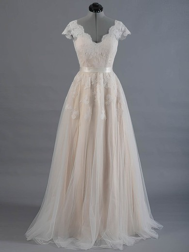 Princess V-neck Tulle Sashes / Ribbons Short Sleeve Wedding Dress #PWD00022520