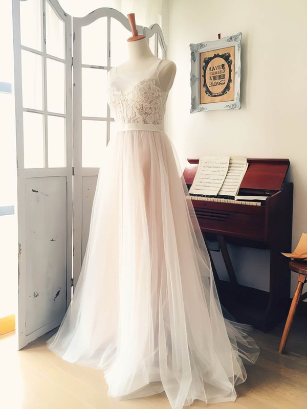 Different Scoop Neck Sweep Train Appliques Lace Tulle Wedding Dress #PWD00022521