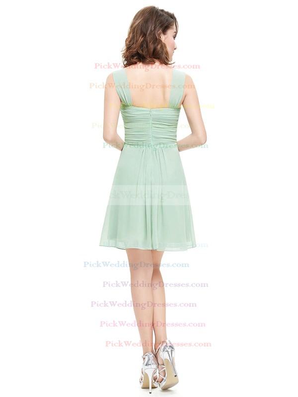 Cute Sweetheart Chiffon Short/Mini Ruffles Sage Bridesmaid Dresses #PWD01012724