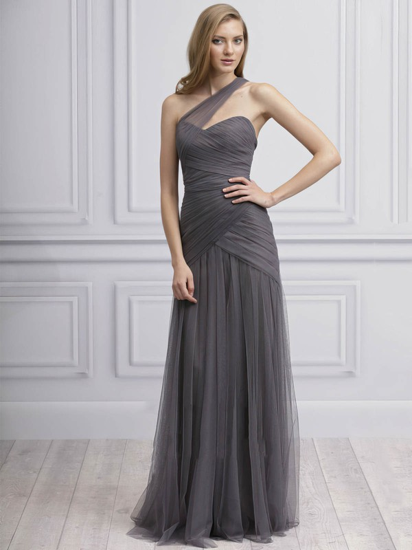Sheath/Column One Shoulder Tulle Ruffles Gray Ladies Bridesmaid Dresses #PWD01012725