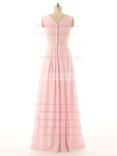 Cheap V-neck Floor-length Flower(s) Pink Chiffon Bridesmaid Dresses #PWD01012726