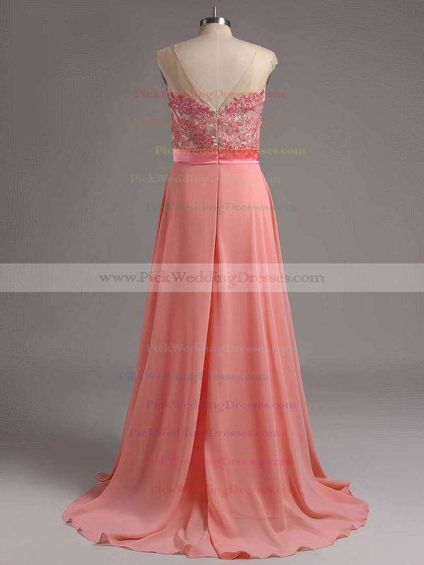 Discount Sweep Train Appliques Lace Chiffon Scoop Neck Bridesmaid Dresses #PWD01012728